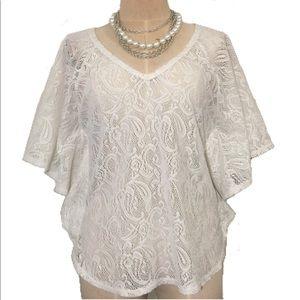 Kimono Sleeve Dolman Crochet Boho Coverup tunic